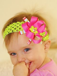baby girls hair bow..pink baby bow... infant headband... lovely kids hairbow for newborn, toddler and little girls via Etsy