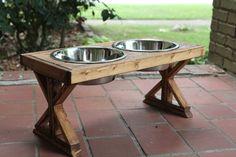 Farmhouse style pet feeders