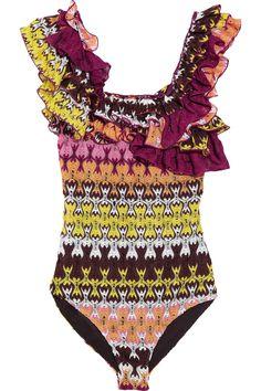 Missoni|Havra ruffled crochet-knit swimsuit|NET-A-PORTER.COM