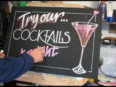 Chalkboard demonstration of wine glass