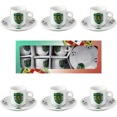 Sporting CP Set Of 6 Espresso Cup and Saucers With Gift Box