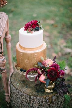 fantastically gold cake from wedding designed by Naturally Yours Events http://naturallyyoursevents.com/
