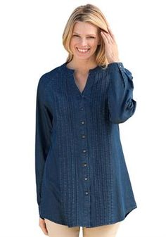 For Mom, size 4x indigo.      Shirt, tunic length, in soft denim with pintucks and pewter buttons | Plus Size Tunics | Woman Within
