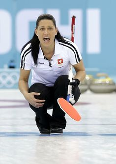 DAY 14:  Carmen Schaefer of Switzerland competes during the Curling Women's Bronze Medal Game - Great Britain vs. Switzerland http://sports.yahoo.com/olympics