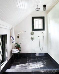 Beautiful Spa Bathroom with slate flooring and white tile. Black and white bathroom #bathroominspo #dreambathroom #masterbathroom