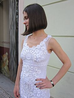 White Irish Crochet Dress OOAK Crochet Freeform by MARTINELI, $350.00