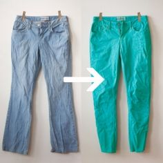 Transform some old jeans into a brightly colored pair of skinny jeans with this simple tutorial!