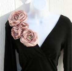 Pink Champagne Fabric Flower Brooch by DinkybirdBoutique on Etsy