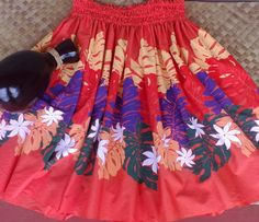 hula pa'u hula skirt orange with large purple dark by SewMeHawaii, $45.00