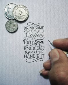 Indonesian artist Dexa Muamar's hand lettered phrases are feeding my typography obsession. Each of his drawings are minuscule, measuring at just about an inch wide. It's fascinating to think these were all beautifully executed with just the fine tip of a wooden pencil!