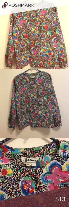 """Floral Vintage Blouse Measurements laying flat Armpit to Armpit 22"""" Shoulder to Shoulder 17"""" Length 24"""". Blouse does have shoulder pads. No flaws to report. Fits up to xl. Please review measurements before purchasing Vintage Tops Blouses"""