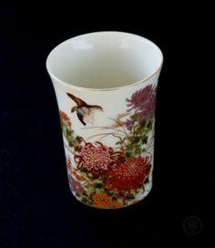 Vintage-Shibata-Japan-Porcelain-Cup-with-flowers-quails-amp-gold-trim-around-lip