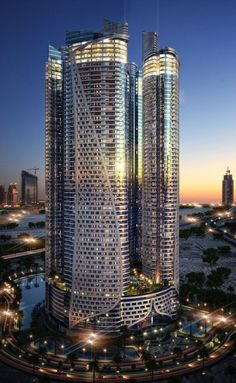 A Flagship Projec of Damac Properties City Architecture, Concept Architecture, Futuristic Architecture, Beautiful Architecture, Amazing Buildings, Modern Buildings, Future Buildings, 3d Architectural Visualization, High Rise Building