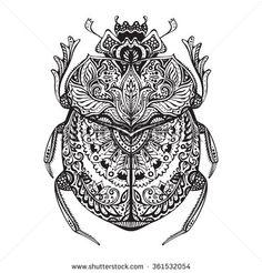 Black and white hand drawn zentangle stylized scarab. Sketch for tattoo, poster, print or t-shirt Black And White Leaves, Black And White Drawing, Egyptian Symbols, Egyptian Art, Egyptian Anubis, Egyptian Goddess, Mandala Pattern, Pattern Art, Scarab Beetle Tattoo