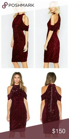Lavish Alice Sequin w/Velvet Red Holiday Dress NWTs. Poly fabric. All over sequins. Zip closure. UK size 8 / US size 4. Lavish Alice Dresses Midi