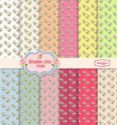 12 Shabby chic scrapbook Little Roses paper pack by AngelinaWorks, $3.90