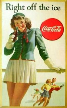 'Coca-Cola / Right off the Ice'  Artist: Unknown  Circa:1946Origin:United States  Todays vintage poster is a 1946 cardboard sign advertising Coca-Cola.  Coca-Cola was invented in 1886 and wasoriginallyintended as apatent medicine byJohn Pemberton. Coca-Cola was bought out by businessmanAsa Griggs Candler, whose marketing tactics led Coke to its dominance of the world soft-drink market throughout the 20th century.