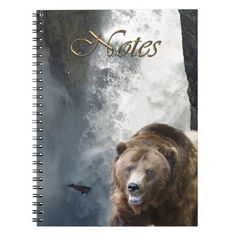 Grizzly Bear, Salmon and Waterfall Notebook