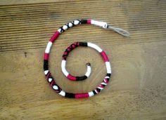 Atebas noir rose fushia et blanche - 44cm Tresse indienne taille moyenne : Accessoires coiffure par stonanka