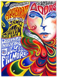 Fillmore concert poster, 1967 - with The Doors, The Yardbirds, James Cotton, and Richie Havens.