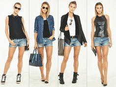 Aprenda a combinar o mesmo short jeans em quatro looks diferentes
