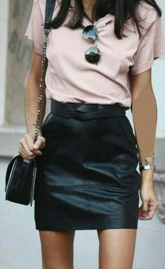 T-shirt and leather mini.