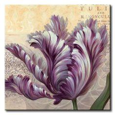GlA_598_Purple Garden II / Cuadro Flores, Flor lila sobre fondo Vintage