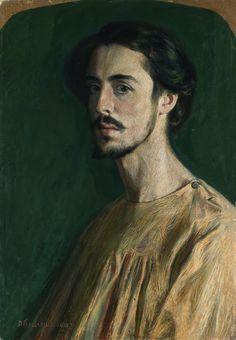 Domenico Baccarini (Italian, 1882-1907), Autoritratto in rosa [Self-portrait in Pink], 1903. Oil on cardboard, 68 x 48.5 cm.