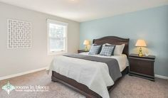 Serene and lovely master bedroom staged by our team. #staging #roomsinbloom