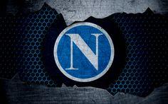 Scarica sfondi Napoli, 4k, arte, Serie A, calcio, logo, club di calcio, SSC Napoli, struttura del metallo