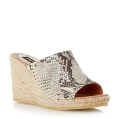 Dune Black Krisha mule wedge espadrille, Multi-Coloured