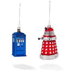 Tardis and Dalek ornaments