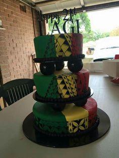 21st Cake, 21st Birthday Cakes, Art Cakes, Cake Art, Tongan Food, Rasta Wedding, Africa Cake, Rasta Party, Island Cake