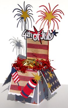 Pop up box card turned into a candy dish. Patriotic 4th of July project by Pazzles Design Team Member Marjorie Eades