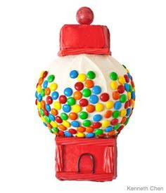 Gumball machine cake.....Not sure kids see too many gumball machines these days but could make a hot air balloon cake using this idea.