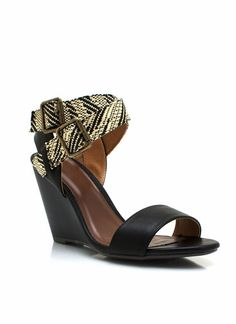 crisscross contrast strappy wedges