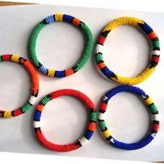 Bead Weave Bracelet by KamogelBeadDesigns on Etsy African Bracelets, Woven Bracelets, Jewelry Bracelets, Bangles, African Beads, African Jewelry, Seed Bead Jewelry, Beaded Jewelry, Jewellery
