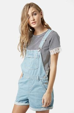 Topshop Moto Short Overalls (Light Denim) available at #Nordstrom