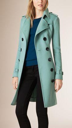 Sandringham Fit Cashmere Trench Coat Dusty Mint | Burberry