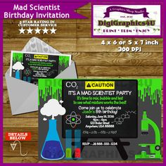 Mad Scientist Birthday Invitation Science Party by DigiGraphics4u #mad #scientist #birthday #party #invitation #pack #science @etsy