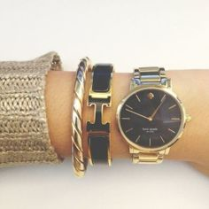 Kate Spade New York Women's 1YRU0004 Bracelet Gold Black Dial Gramercy Watch
