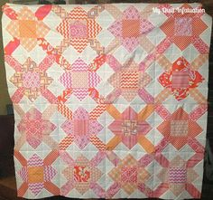Pattern?  Pink/apricot/salmon - not too much/just enough white.  Perfect!  At http://myquiltinfatuation.blogspot.com/2013/09/purse-strings-quilt-top.html -- My Quilt Infatuation: Purse Strings Quilt Top