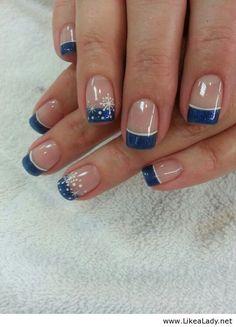 Snowflakes Christmas nail art. Blue tip with snowflakes, Winter Nail Art.