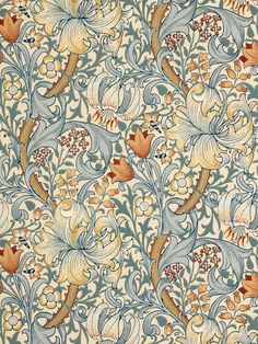 Golden Lily Pattern Wallpaper. William Morris & Co.