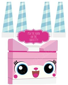 Pin the Horn on the Unikitty Lego Movie Birthday Party Game Ideas by PartyPoshPrintables