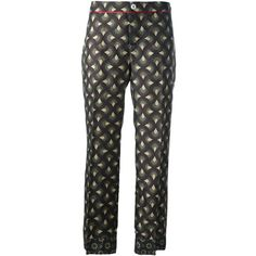 For Restless Sleepers printed cropped trousers ($425) ❤ liked on Polyvore featuring pants, capris, green, green cropped pants, print pants, silk print pants, patterned trousers and patterned pants
