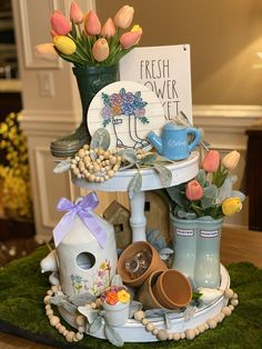 Rain boots with flowers sign, tiered tray sign, Rae Dunn, tiered tray decor Faux Shiplap, Tiered Stand, Spring Home Decor, Spring Crafts, Tray Decor, Seasonal Decor, Holiday Decor, Table Decorations, Centerpieces