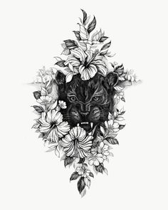 """""""A Black Panther among Hibiscus flowers, part 3 of the Big Cat series . Dope Tattoos, Dreieckiges Tattoos, Baby Tattoos, Arrow Tattoos, Tatoos, Black Panther Tattoo, Black Art Tattoo, Panther Tattoos, Black Panther Art"""