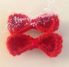 編織頭飾 003 : 蝴蝶髮夾(紅色) #VegabyFrankie #6x3cm