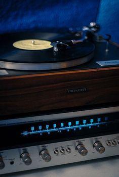 Receiver, turntable, and vinyl. Radios, Vinyl Music, Vinyl Records, Retro, Audio Room, Vinyl Junkies, Record Players, Phonograph, Hifi Audio